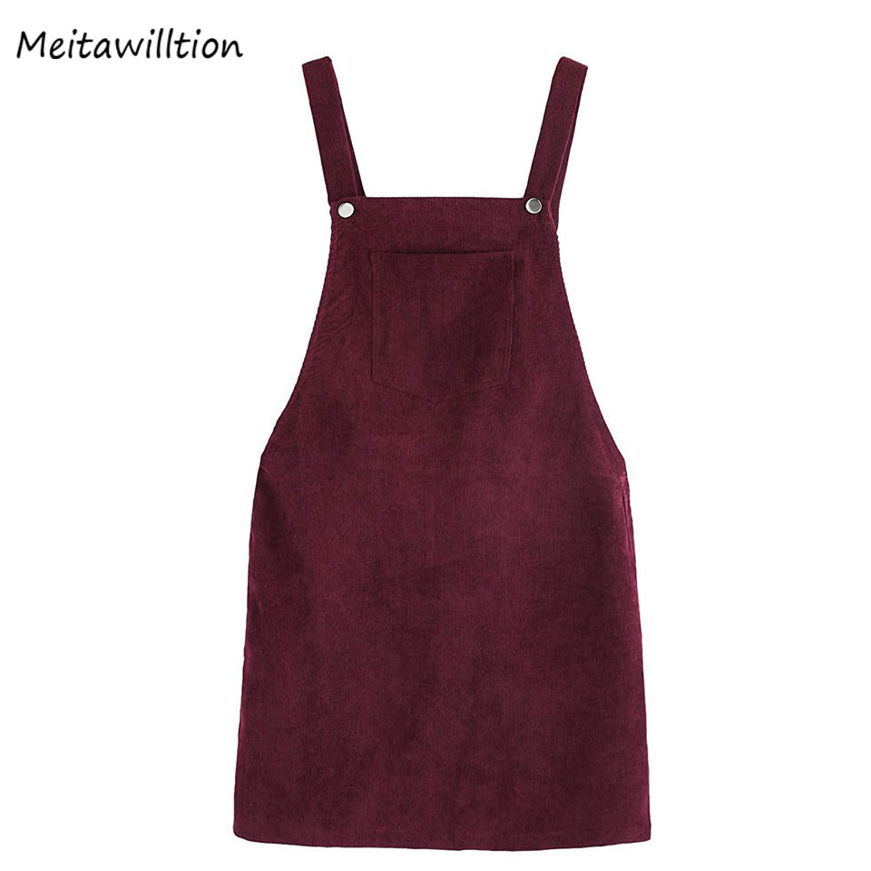 Corduroy Skirts Suspender Spring Square Neck-Pocket Burgundy Retro Autumn Ladies Sleeveless
