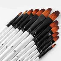12 pinceaux Pinceaux de peinture de taille mixte Nylon blanc Aquarelle Brush Set Student Children Painter Art Supplies 4