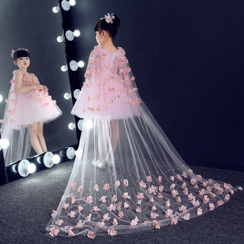 Hot Sale 2017 Luxury Lace Appliques Embroidery Sweet Princess Kids Dress For Girls Wedding Flower Girls Dress For Prom Party P64 hot sale summer 2017 elegant lace appliques prom party sweet princess kids dress for girls luxury flower girls for wedding p43