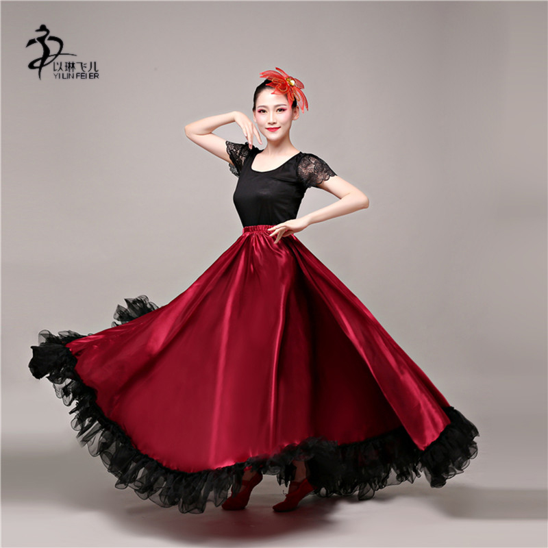 New Flamenco Skirt Ballroom Dance Costumes Red Women Dress