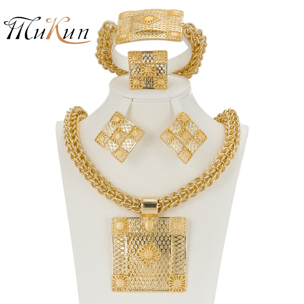 MUKUN 2017 Latest Best Quality Fashion Italian jewelry Dubai Gold color Jewelry sets African Women Big Necklace Jewellery