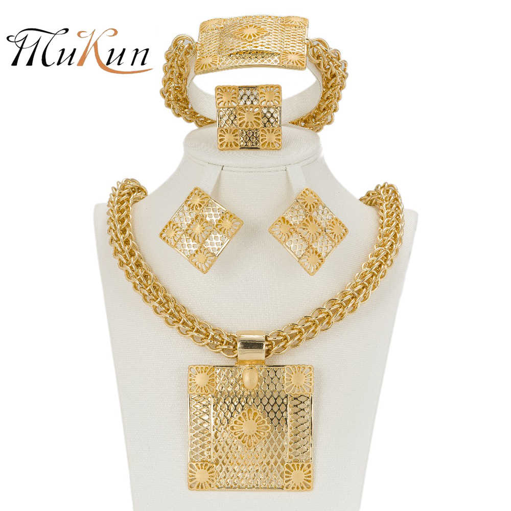 MUKUN צבע זהב תכשיטי אופנה איטלקית באיכות 2017 האחרון הטוב ביותר אפריקאים סטי תכשיטי נשים תכשיטי שרשרת גדול