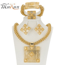 MUKUN 2017 Latest Best Quality Fashion Italian jewelry Dubai Gold color Jewelry sets African Women Big Necklace Jewellery(China)