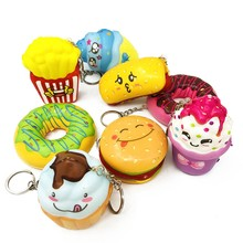 Cute Keychain Key Ring Antistress Gift For Women Bag Girls Ice Cream Donut Bamburger Squishy Slow Rising Key Chains Kid Keychain(China)