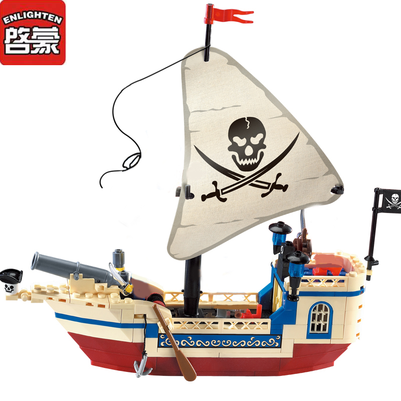 Enlighten City Series Pirates Ship Building Block sets Kids  Educational Bricks Toys for Children 2017 enlighten city series garbage truck car building block sets bricks toys gift for children compatible with lepin