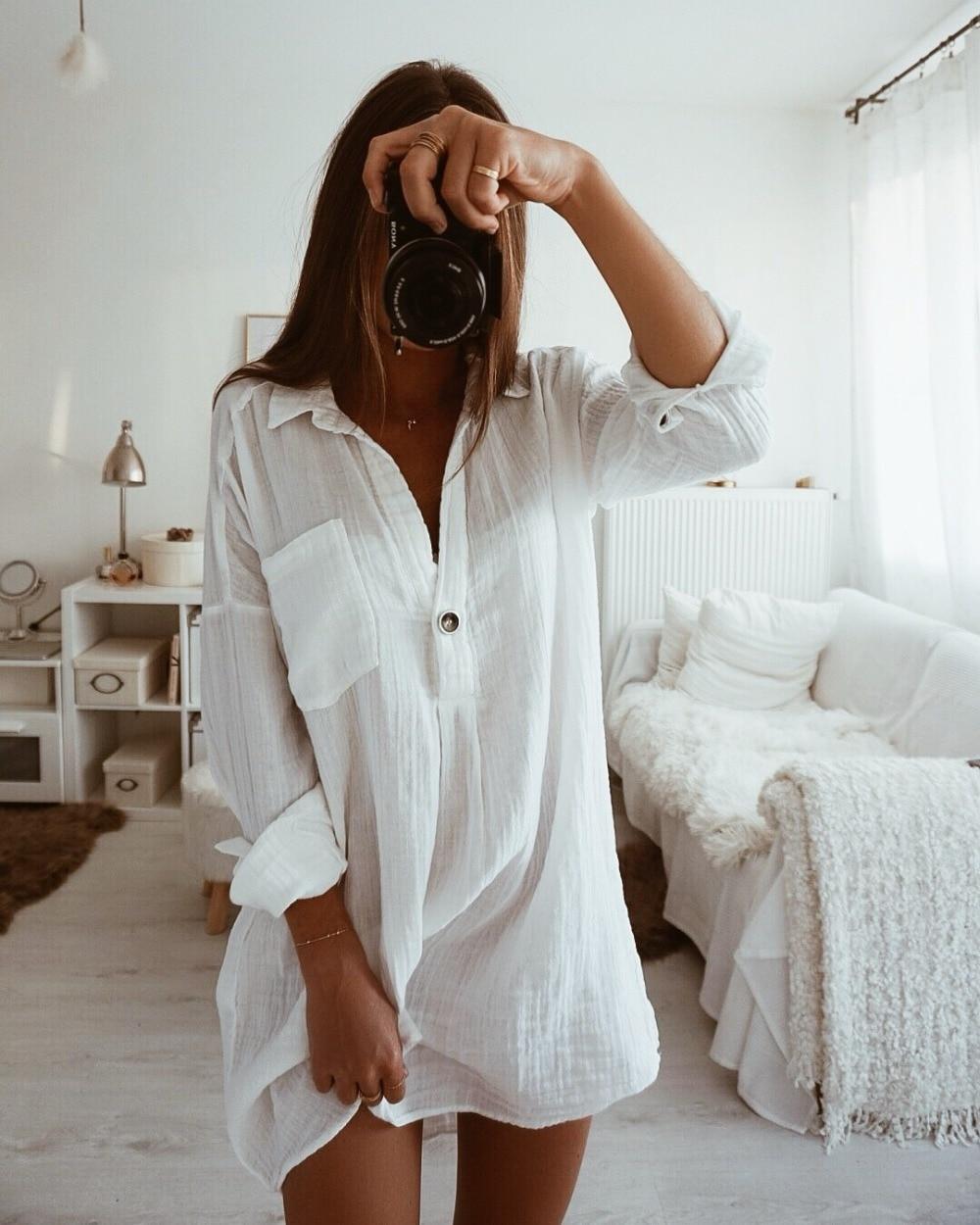 6efe124329da Cheap Mujer Tops y blusas de moda de otoño de 2019 estilo largo de lino  blanco