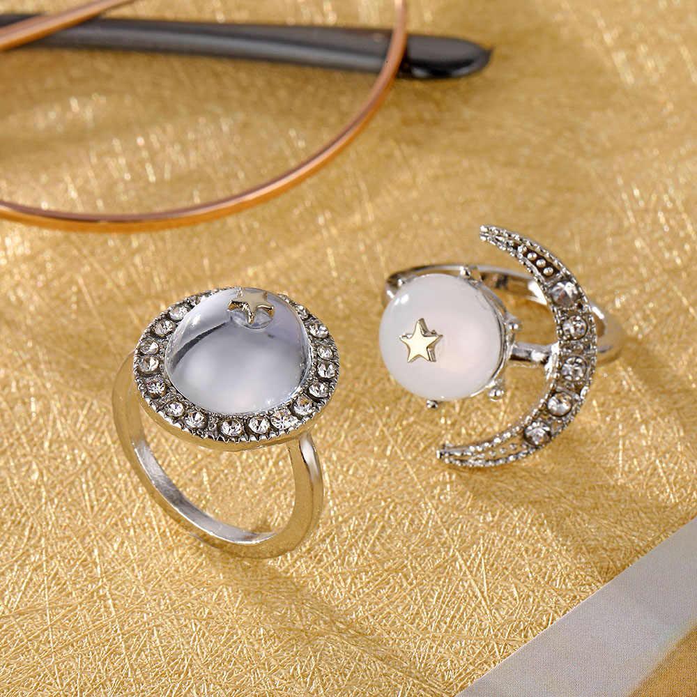 IPARAM 2 шт./компл. в богемном стиле с украшением в виде кристаллов опал «Луна», «Звезды» серебряное кольцо в стиле ретро женский совместный большой хрустальный камень геометрическое кольцо набор