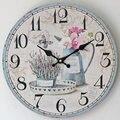 12 дюймов креативные расписные Цветочные домашние декоративные круглые деревянные настенные часы  винтажные бесшумные деревянные настенны...