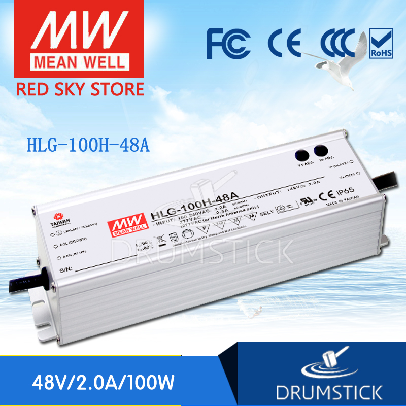 Selling Hot MEAN WELL HLG-100H-48A 48V 2A meanwell HLG-100H 48V 96W Single Output LED Driver Power Supply A type security camera cctv power supply box dc 12v 5a 9 channels distribution box