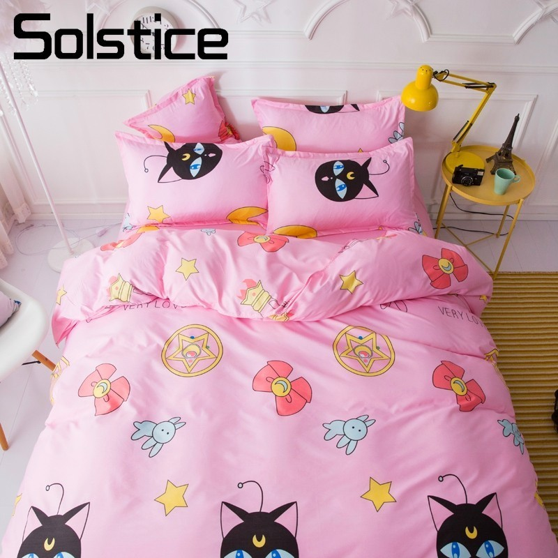 Solstice Home Textile Pink Cartoon Bedding Sets Girl Kid Teenage Linen Duvet Cover Pillowcase Bed Sheet King Queen Double Single