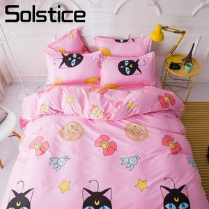 Solstice Home Textile Pink Cartoon Bedding Sets Girl Kid Teenage Linen Duvet Cover Pillowcase Bed Sheet King Queen Double Single(China)