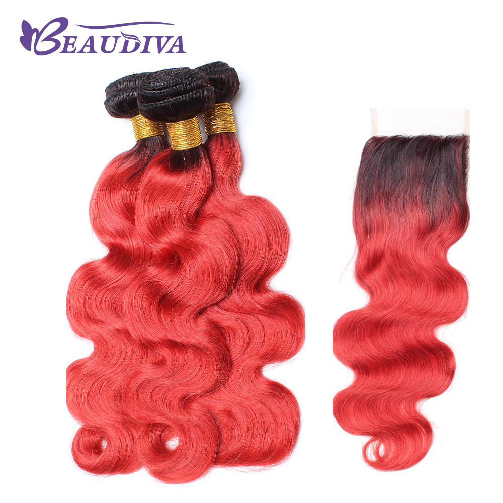 BEAUDIVA Pre-Colored Remy Human Hair Weave 3 Bundles With 4x4 Lace Closure Dark Root Red Brazilian Body Wave Ombre Hair