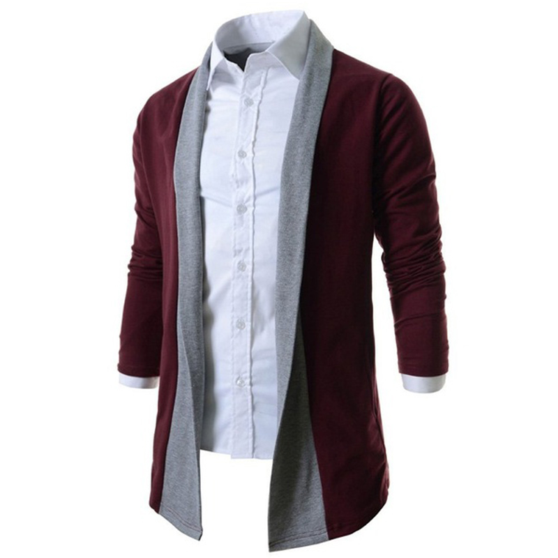 Zogaa Geek New Men's Cardigan Color Matching Casual Long Sleeve Knit Male Casual Autumn Pure Color Sweater Wholesale