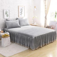 Famvotar Luxury 3 Pieces Velvet Diamond Quilted Ruffle Bed Skirt 3 Side Coverage Twin Queen King Size Drop Dust Fitted Bed Sheet