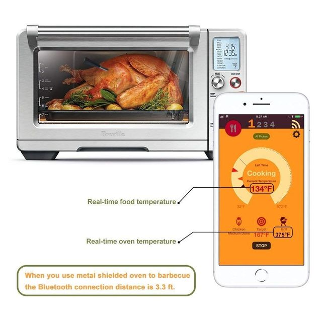WiHoo Digital  BBQ Thermometer Wireless Cooking Thermometer Bluetooth Meat Food Oven Grill Thermometer Probe
