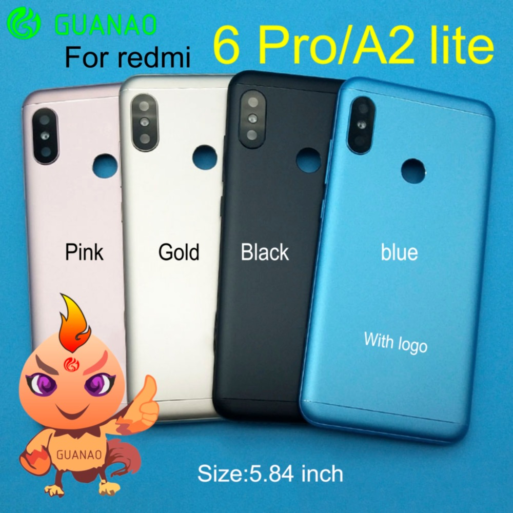 FOR <font><b>XIAOMI</b></font> Redmi 6 PRO <font><b>MI</b></font> <font><b>A2</b></font> Lite <font><b>Battery</b></font> Back <font><b>Cover</b></font> Rear Door Housing Side Key for redmi 6PRO Housing Replacement Repair image
