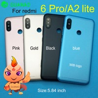 Para Xiaomi Redmi 6 PRO mi A2 Lite batería cubierta trasera puerta trasera carcasa llave lateral para Redmi 6 PRO Reparación de reemplazo de la carcasa