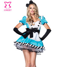 Sexy Fairy Tale Alice In Wonderland Traje Tea Party Maid Cosplay Feminino Anime Japonés Disfraces de Halloween Para Las Mujeres Adultas