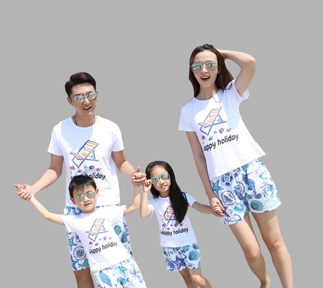 2c6cc421f All Family Clothing Sets T-shirt+Shorts Matching Family Clothing Outfits  For Mother Daughter