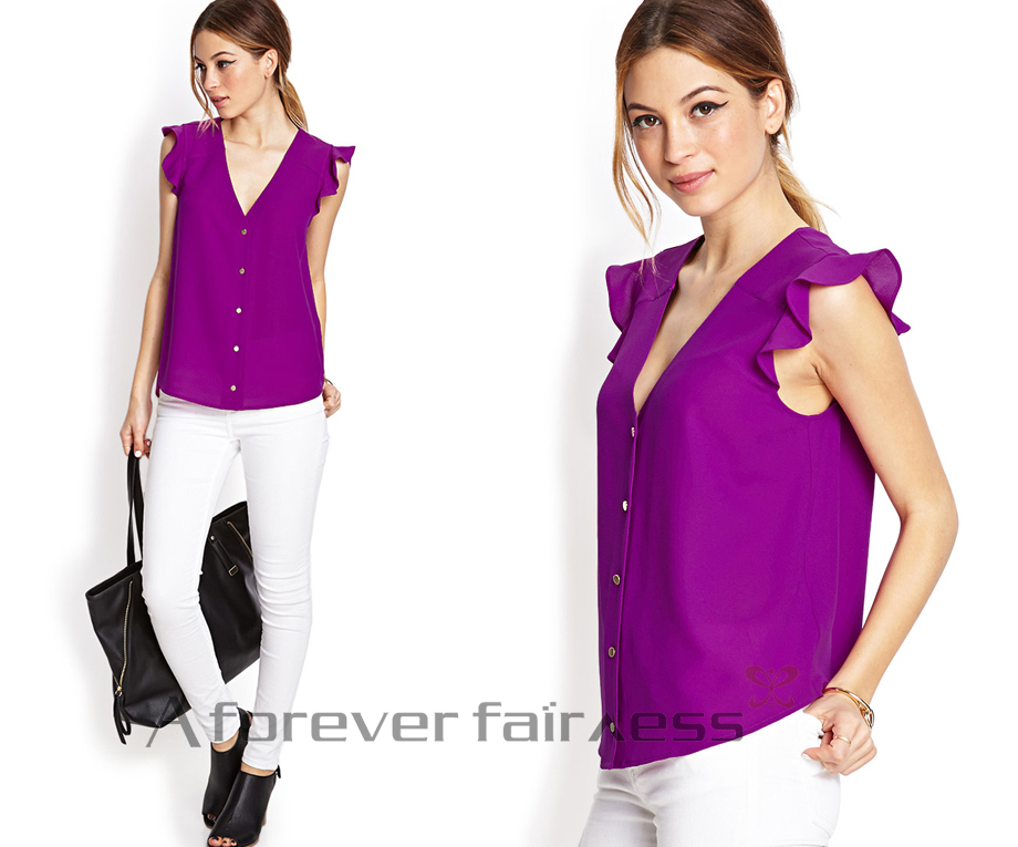 dde4a040b51a7 Women Tops White Black Light Purple Dark Purple Red Women Chiffon Tops  Sleevelse Women Plain V Neck Top SKU 134-in Blouses   Shirts from Women s  Clothing on ...