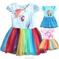 Рождество костюм девочка одежда для новорожденных платье мультфильм my little pony horse pattern радуга крылья партии princess tutu платья
