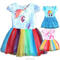 christmas costume baby girl clothing infant vestido cartoon my little horse pony pattern rainbow wings party princess tutu dress