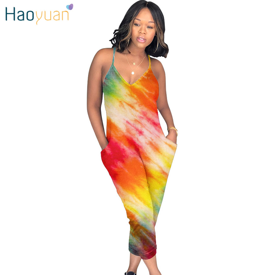 HAOYUAN Tie Dye Print Sexy   Jumpsuit   Bodycon Summer Overalls Spaghetti Strap Body One Piece Plus Size Rompers Womens   Jumpsuit