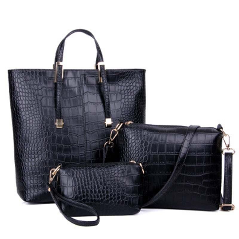 ФОТО Alligator Three Set Luxury Women Bag Designer Handbags High Quality 2016 Shoulder Messenger Bag Fashion Clutch Bags Sac A Main
