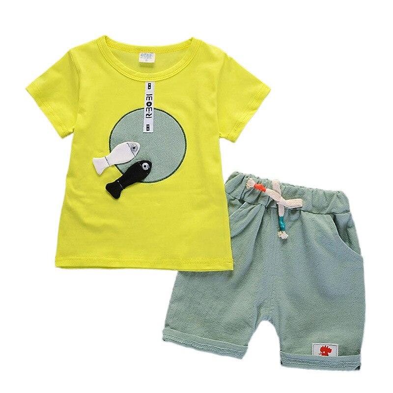 2 шт. костюм для маленьких мальчиков детская одежда лето Одежда для маленьких мальчиков и девочек комплект мультфильм 2018 Новый Детские Модн...