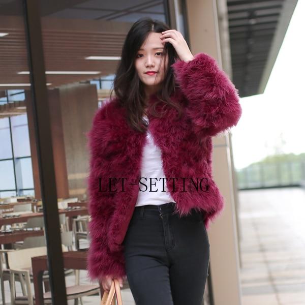 da8893df383 🛒[fnnft] LET SETTING sexy Ostrich wool turkey real fur women coat ...