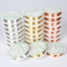 Liga de ouro prata, cor dourada da liga 0.2/0.25/0.3/0.4/0.5/1mm corda miçangas fio diy artesanato, fabricação de jóias, corda, acessórios