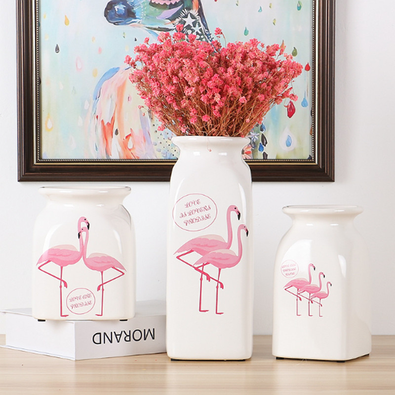 Nordic flamingo White ceramic vase Simple and modern Dried flowers Home decorations table decoration