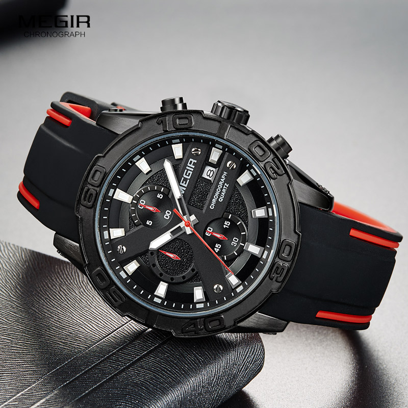 MEGIR Men's Fashion Sports Quartz Watches Luminous Silicone Strap Chronograph Analogue Wrist Watch for Man Black Red 2055G-BK-1