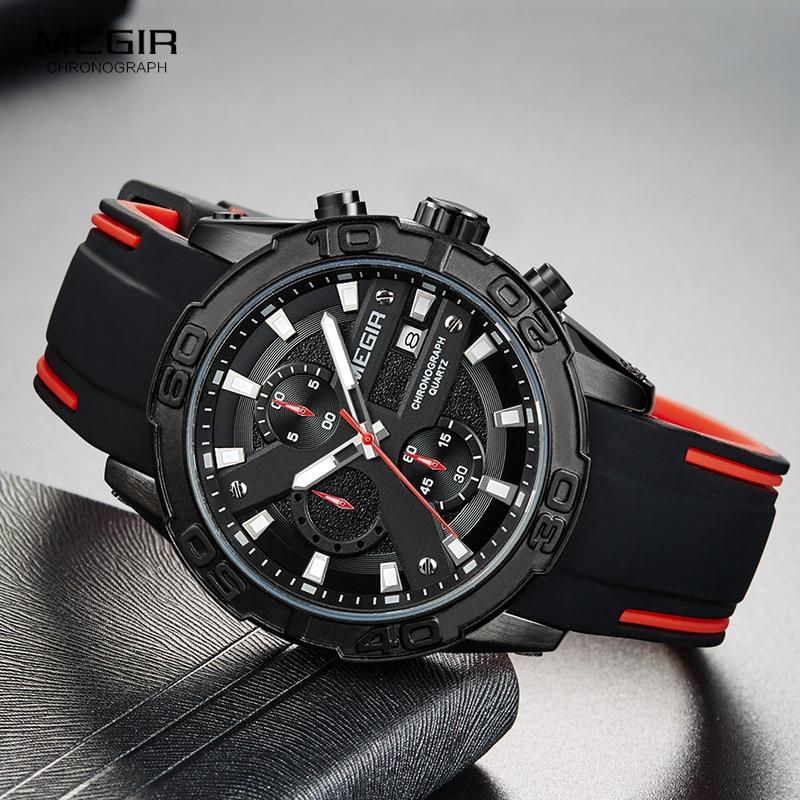 MEGIR Men's Fashion Sports Quartz Watches Luminous Silicone Strap Chronograph Analogue Wrist Watch For Man Black Red 2055G-BK-1