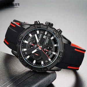 Image 1 - MEGIR Mens Fashion Sports Quartz Watches Luminous Silicone Strap Chronograph Analogue Wrist Watch for Man Black Red 2055G BK 1