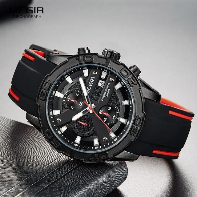 MEGIR Mens Fashion Sports Quartz Watches Luminous Silicone Strap Chronograph Analogue Wrist Watch for Man Black Red 2055G BK 1