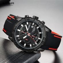 MEGIR גברים של אופנה ספורט קוורץ שעונים זוהר סיליקון רצועת הכרונוגרף אנלוגי שעון יד לגבר שחור אדום 2055G BK 1