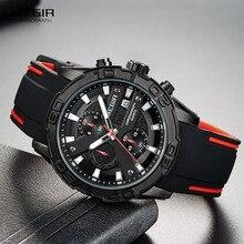 Megir メンズファッションスポーツクォーツ腕時計発光シリコーンストラップクロノグラフアナログ腕時計の黒赤 2055G BK 1