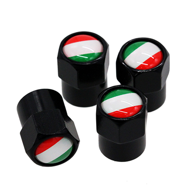 HAUSNN 4Pcs/Pack Car Accessories For FIAT Alfa Romeo Ferrari Italy Flag Logo Sticker Wheel Tire Valve Caps Stem Auto Styling