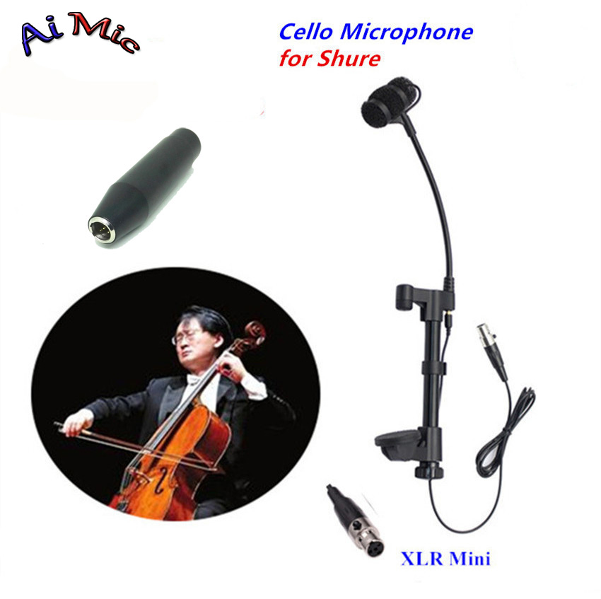 Top Gooseneck Instrument Microphone Cello Microfone Music Transmitter with Mini XLR 4pin for Shure Wireless System Mic gooseneck instrument microphone music violin transmitter microfone withmini xlr 3pin for akg samson wireless system
