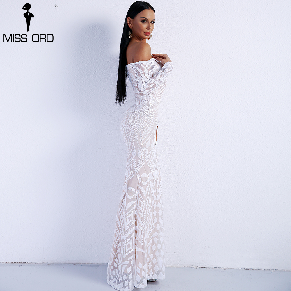 Missord 2019 Sexy de Slash Pescoço Manga Longa Vestidos de Geometria ... 03649816095e