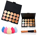 Fashion Women Professional 15 Color Makeup Cosmetic Contour Concealer Palette Make Up+Sponge+Concealer Brush