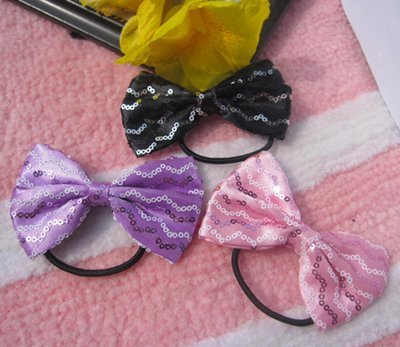 Shipping free!12pcs/lot Ponytail holder hair bow New satin with waved  sequins  hair bow hair holder can mix order