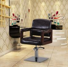 Hair salon dedicated to restore ancient ways real wood armrest barber chair. Haircut hairdressing chair
