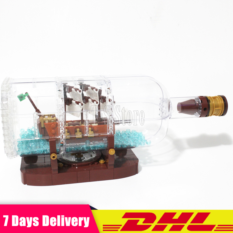 IN STOCK Clone 21313 Lepin 16051 Ship In A Bottle Creative Pirates Caribbean Ship Pirates Series Building Blocks Bricks Kits Toy new lepin 16009 1151pcs queen anne s revenge pirates of the caribbean building blocks set compatible legoed with 4195 children