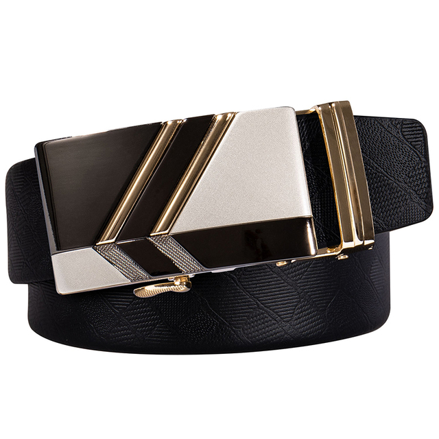 Hi-Tie Brand - Gold Automatic Buckle Genuine Leather Belt 2