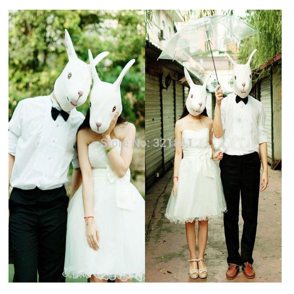 Realistic White Rabbit Mask Full Face Head Latex - 008 Store store