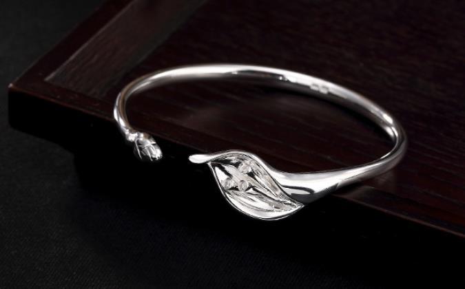 JOOCHEER Sterling S999 999 silver Bangle magnolia trendy opening bracelet JOOCHEER Sterling S999 999 silver Bangle magnolia trendy opening bracelet