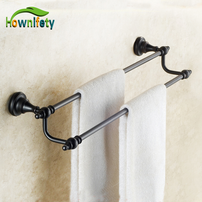Oil Rubbed Bronze Bath Dual Towel Bars Solid Brass Wall Mount Towel Hangers