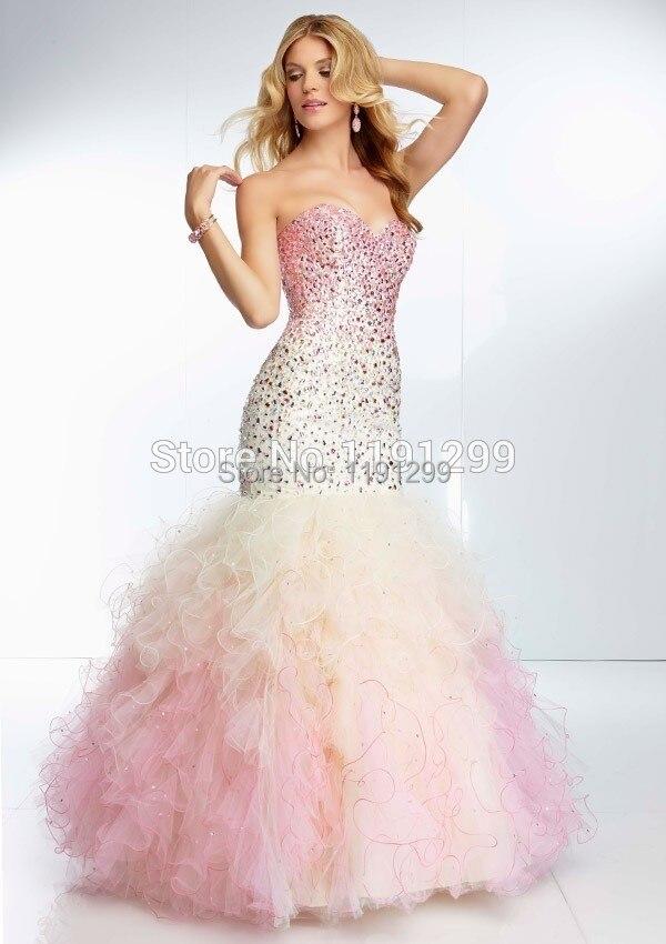 Luxury Beaded Sweetheart Bodice Corset Organza Ruffles Rainbow ...